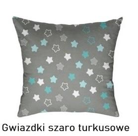 Poszewka na poduszkę jasiek 40x40cm, 100% Bawełna Gwiazdki szaro turkusowe
