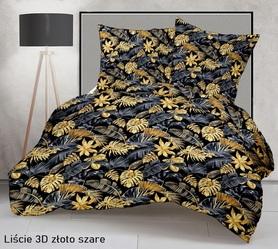 Pościel 160x200cm 2x70x80cm, 140g/m2,100% bawełna  Liście 3D złoto szare