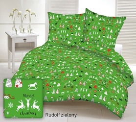 Pościel 140x200cm, 70x80cm, 140g/m2, bawełna 100% Rudolf zielony
