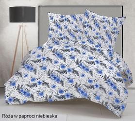Pościel 160x200cm 2x70x80cm, 140g/m2,100% bawełna  Róża w pap. niebieska