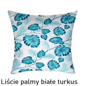 Poszewka na poduszkę jasiek 40x40cm, 100% Bawełna Liście palmy białe turkus