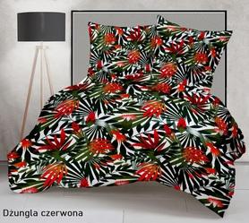 Pościel 160x200cm 2x70x80cm, 140g/m2,100% bawełna  Dżungla czerwona