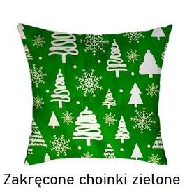 Poszewka na poduszkę jasiek 40x40cm, 100% Bawełna Zakręcone choinki zielone