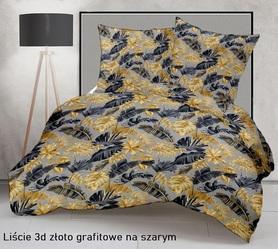 Pościel 160x200cm 2x70x80cm, 140g/m2,100% bawełna  Liście 3D złoto grafitowe na szarym