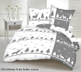 Pościel 140x200cm, 70x80cm, 140g/m2, bawełna 100% Christmas tree biało szare