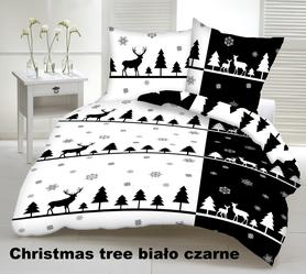 Pościel 160x200cm 2x70x80cm, 140g/m2,100% bawełna  Christmas tree b. czarne
