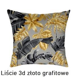 Poszewka na poduszkę jasiek 40x40cm, 100% Bawełna Liście 3D złoto grafitowe