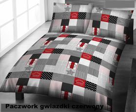 Pościel z kory 140x200cm + 1szt. 70x80cm -PRESTIGE Paczwork czerwony