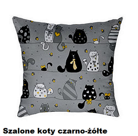 Poszewka na poduszkę jasiek 40x40cm, 100% Bawełna Szalone koty szaro-żółte