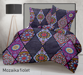 Pościel 160x200cm 2x70x80cm, 140g/m2,100% bawełna  Mozaika fiolet