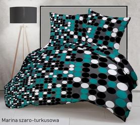 Pościel 160x200cm 2x70x80cm, 140g/m2,100% bawełna  Marina szaro-turkusowa