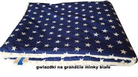 KOCYK KOŁDERKA MINKY 75x100cm dwustronny ocieplany Gwiazdki na Granacie Minky Białe