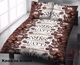 Pościel 140x200cm, 70x80cm, 140g/m2, bawełna 100% Kawa na białym