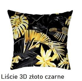 Poszewka na poduszkę jasiek 40x40cm, 100% Bawełna Liście 3D złoto czarne