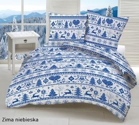 Pościel 160x200cm 2x70x80cm, 140g/m2,100% bawełna  Zima niebieska