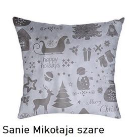 Poszewka na poduszkę jasiek 40x40cm, 100% Bawełna Sanie Mikołaja szare