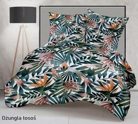 Pościel 160x200cm 2x70x80cm, 140g/m2,100% bawełna  Dżungla łosoś