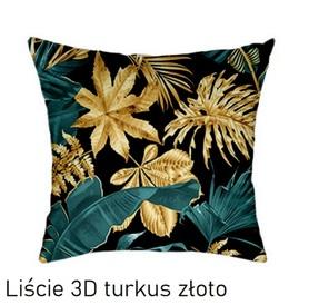 Poszewka na poduszkę jasiek 40x40cm, 100% Bawełna Liście 3D turkus złoto