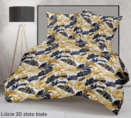 Pościel 160x200cm 2x70x80cm, 140g/m2,100% bawełna  Liście 3D złoto białe 5205