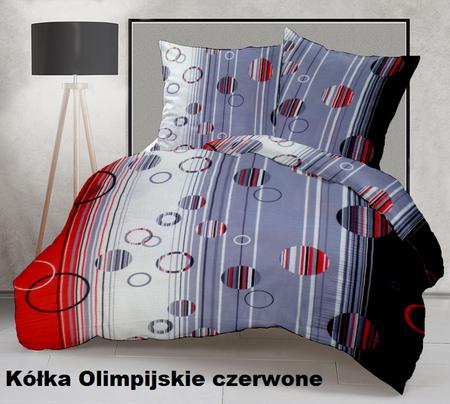 Pościel z kory 140x200cm + 1szt. 70x80cm -PRESTIGE Kółka Olimpijskie czerwone 330