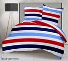 Pościel 160x200cm 2x70x80cm, 140g/m2,100% bawełna  Tęcza czerwona (1)